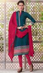 Churidar Suit, Cotton Fabric in Steel Blue Color Shaded