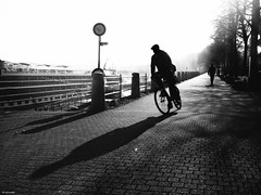 Turn left or right? (René Mollet) Tags: left renémollet right bicycle bike blackandwhite urban street streetphotography shadow silhouette streetart riverside