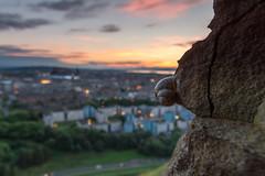 The Climber (Kyoshi Masamune) Tags: edinburgh edinburghcastle sunset citypanorama cityscape sigma1750mmf28 dof uk scotland kyoshimasamune holyroodpark salisburycrags catnick clouds cloudscape radicalroad goldenhour cokinfilters nd8 cokinnd8