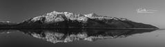 3158 bw_Panorama1 (Ed Boudreau) Tags: alaska landscape alaskalandscape landscapephotography reflection turnagainarm sewardhighway alaskamountains mountains mountainrange water waterreflection mountainreflectinginwater snow snowcappedmountains