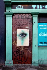 IMG_2892 (Kathi Huidobro) Tags: architecture turquoise london abandonedbuildings oldlondon abandoned doorway pillars graffiti graffitiart streetart mydogsighs wheatpasteart eastlondon texture urban urbandecay urbanscene