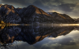 Sunset on lake Lugano