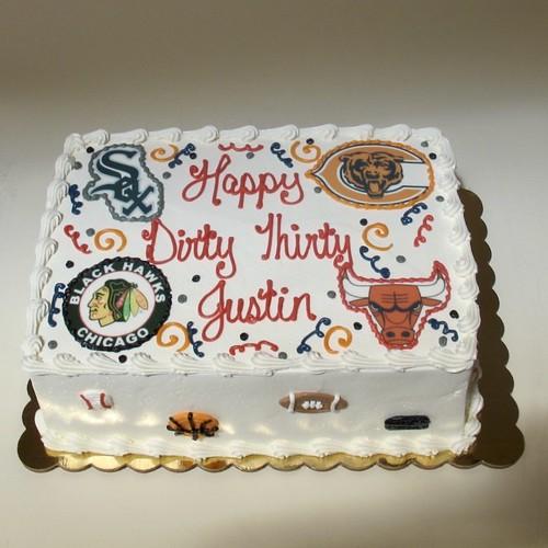 Chicago Sports Fan 30th Birthday Cake