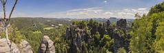 Bastei panorama (Augustas Kemežys) Tags: rathen sachsen germany de bastei bridge deutschland nature mountains trees sky