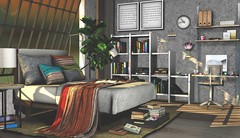 Book lovers bedroom (Alexa Maravilla/Spunknbrains) Tags: ionic thechapterfour kite buildersbox zenscreations dustbunny collabor88 secondlife sl architecture homedecor interiordesign bedroom books furniture