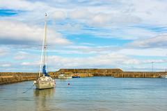 A Bonnie Morning In Scotland (williamrandle) Tags: buoyant cullen scotland northeastscotland summer 2017 holidays uk harbour northsea water boat yacht breakwater clouds bluesky peaceful serene beauty coast seascape stone nikon d7100 sigma1835f18art