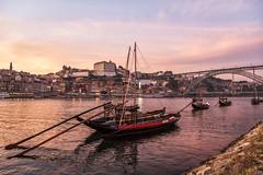 Oh Porto, I love you (mystero233) Tags: porto oporto portugal sunset dusk sun boat river water flow city town cityscape bridge luisi metal sky red travel traveler outdoor landscape