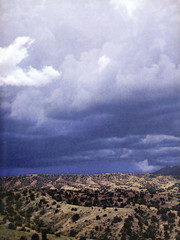 Cloudburst and Rolling Hills by Mabel Weadock, Arizona Highways, July 1957 (Tom Simpson) Tags: arizonahighways arizona landscape vintage 1957 1950s sky clouds photos desert photography cloudburst rollinghills mabelweadock