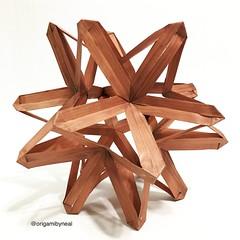 "A1: Great Stellated Sonobe-Ow Dodecahedron, ""Copenhagen"" (designed by me) (nealgodse) Tags: patterned modular wireframe kusudama sonobeunit copenhagen origami modularorigami"