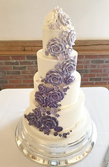 Purple Ombre Roses Wedding Cake