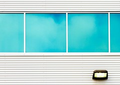 Blue & White (Karen_Chappell) Tags: window windows blue white lines rectangle square light architecture building abstract geometry geometric stjohns city urban canada atlanticcanada avalonpeninsula reflection reflections