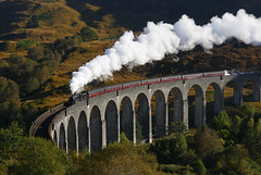 Jacobite (pad72) Tags: train rail railway steam locomotive jacobite glennfinan viaduct scotland scottish structure autumn fall colour color westhighlands highlands line uk black5 45407