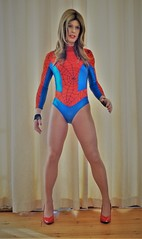Off to see the new Spiderman film today so thought I'd dress the part (Miss Nina Jay) Tags: leotard tights heels trannie