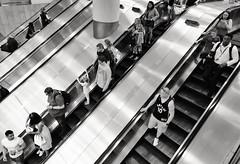 Both Hands (Douguerreotype) Tags: monochrome diagonal underground city bw uk metro escalator british england mono blackandwhite stairs britain subway gb london urban people tube steps