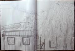 das Leben unter einem Feigenbaum (raumoberbayern) Tags: sketchbook skizzenbuch sketch robbbilder fence gartenzaun licht schatten france frankreich tree baum feige