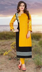 Yellow and Black Color Rayon Cotton Classic Tunic