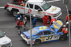 A closeup of the #37 car of Chris Buescher after his wreck at Bristol (Hazboy) Tags: hazboy hazboy1 nascar auto car race racing bristol motor speedway food city 500 tennessee sport usa us america