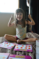 Playing Telling Time Bingo (Vegan Butterfly) Tags: vegan person kid cute adorable child girl homeschool homeschooling learning math telling time bingo