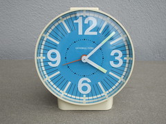 Vintage Westclox General Time Blue Faced Alarm Clock Mid Century Modern Design (beetle2001cybergreen) Tags: vintage westclox general time blue faced alarm clock mid century modern design
