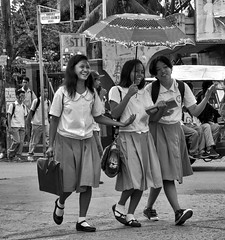 Schools Out Girls (Beegee49) Tags: street children filipina girls students crossing bata bacolod city philippines