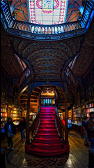 The Harry Potter Bookstore In Porto (Stuck in Customs) Tags: porto portugal stuckincustomscom treyratcliff trey ratcliff lisbon sentra pool bookshop harrypotter blue 80stays rcmemories treyratcliffcom hdr hd stuck in customs daily photo rr square colour color photography tutorial time red green orange yellow lights stained glass window wall dome 2017 ceiling ancient april landscape skyline cityscape building glowing light night structure architect nighttime citylights view hasselblad x1d