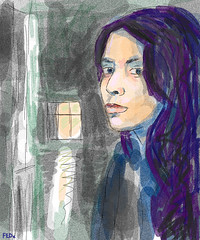 Girl by window (faceseveryday) Tags: fed112 art illustration drawing redditgetsdrawn portrait photoshop sketch scribble female girl woman window purplehair