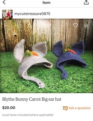 Just list my Blythe bunny carrot big ear hat in my etsy store.. welcome.. 😍😘..