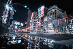 Shinjuku (ScottSimPhotography) Tags: street city japan tokyo shinjuku cityscape night nightscape evening lights red district lightstreaks vanishingpoint puddle reflection cyberpunk scifi bladerunner travel visit downtown nightlife perspective