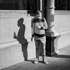 melbourne-8510-bw-ps-w (pw-pix) Tags: woman standing smiling grinning drinking smoking cigarette water bottle column hotel window wall footpath shadow funny candid surprised surprise windsorhotel springstreet cbd melbourne victoria australia