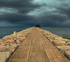 Towards (Robyn Hooz) Tags: chioggia diga pontile paranchi pesca fish stones rocks storm temporale nuvole clouds