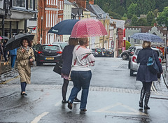 Rainy day in Ludlow (tramsteer) Tags: tramsteer umbrellas rain streetphotography people ludlow shropshire weather