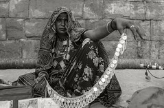 Gypsy Woman, Jaisalmer Fort (Well-Bred Kannan (WBK Photography)) Tags: rajasthan wbk portrait sepia blackandwhite women female hardlife jaisalmer nikon nikond750 travelphotography travel india incredibleindia gypsywoman