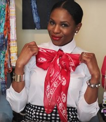 Monica ETUK (VeronArmon) Tags: bow blouse tie silk satin models pink red black beautiful cute model woman lady puffy sleeve office strict formal secretary airline stewardess