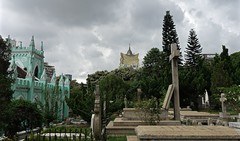Cemiterio de S. Miguel Arcanjo (MFinChina) Tags: cemiteriodesmiguelarcanjo cemetery chapel stmichaelscemetary stmichaelschapel gravestones graves church macao macau sky overcast trees 澳门 澳門