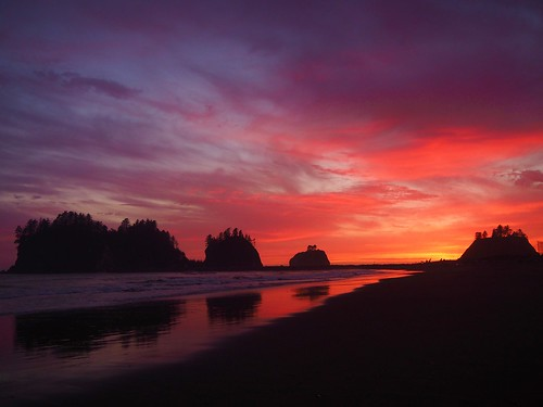 Gold and pink Quileute sunset, with reflections of James Island & Little James Island