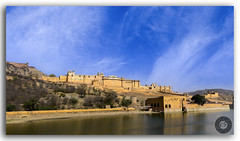 The beauty of golden Amer fort in the bright summer sky! (FotographyKS!) Tags: amer amber fort architecture architect jaipur rajasthan india ancient history historic attraction reflection famous fortifications fortress historical lake landmark old outdoor palace castle panorama panoramic pond scenery sightseeing tourist tourism water pattern royal redsandstone marble rajputarchitecture exterior pyramidal monument heritage architecturalheritage hindurajput vintage building luxury hillfort asia bluesky outside