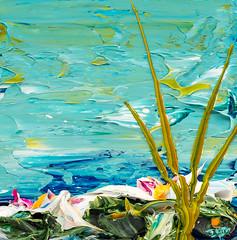 JUSTIN GAFFREY LP12X12-2017-128 (Justin Gaffrey) Tags: waterscape art painting acrylicpaint lake reeds waterlillies lilliepads pond water green aqua blue 12x12 30a sowal artist florida floridaartist justingaffrey
