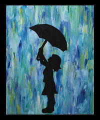 fille en acrylique (GéCau & Cie) Tags: melissa girl umbrella painting work