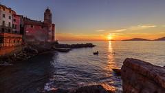 Going back home (Enrico Cusinatti) Tags: barca gozzo liguria cinqueterre italia italy mare church chiesa sea seascape tramonto tellaro sunset enricocusinatti sky cielo boat