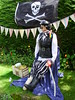One Eyed Welly (Nekoglyph) Tags: appletonwiske yorkshire village scarecrow festival 2017 summer welly wellington boot rubber woodenleg cutlass eyepatch jollyroger pirate black skull flag crossbones stripes bunting hedge treasure blue green