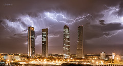 Let there be the light. (darklogan1) Tags: pano panoramic storm thunderstorm lighting skycraper clouds night madrid spain skyline nightphotography spectacular logan darklogan1 sony a7r2