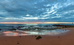 Cloudy Sunrise Seascape (Merrillie) Tags: daybreak sand landscape nature water newsouthwales rocks nsw beach scenery longexposure seapool clouds newport earlymornings waterscape sea australia dawn seascape
