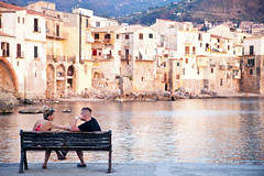 Sicily Sunset (frasse21) Tags: cefalù sicily italy sunset couple water city houses dof