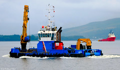 Scotland Greenock ship repair tug Forth Jouster on its way to the Norwegian sea going tug BB Troll in the background 10 July 2017 by Anne MacKay (Anne MacKay images of interest & wonder) Tags: scotland river clyde greenock ship repair tug forth jouster norwegian bb troll xs1 10 july 2017 picture by anne mackay