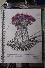 (Stitchinscience) Tags: sketchbook sweetpeas vase flower pink lilac purple homegrown charcoal oilpastel