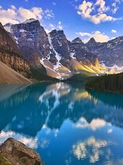 A good view - iPhone (Jim Nix / Nomadic Pursuits) Tags: iphone snapseed travel alberta canada sunset goldenhour morainelake banff jimnix mountains lake alpine glacier glacial