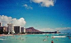 Waikiki Shoreline ... early 90's (jcc55883) Tags: hawaii oahu honolulu diamondhead waikiki waikikibeach waikikishoreline sky clouds ocean sunsetonthebeach jeremyharris film 35mm 35mmfilm oldfilm filmphotography canon canon35mm