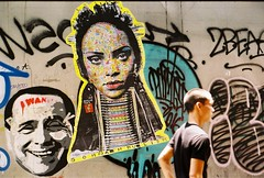 Sukhumvit Road - Bangkok (35mm) (jcbkk1956) Tags: graffiti street bangkok thailand thonglo sukhumvitroad pasteup wall olympus om2n manualfocus kodak kodakgold200 berlusconi man thai 50mmf14 analog worldtrekker