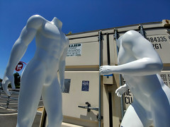 Face-Off (RZ68) Tags: mannequins dummies dummy white store department clothes men statues like smooth muscle buffed buff dudes dont mess with them parking lot strong ripped abs fight banal everyday street lg g6 camera phone nude naked headless shiny big tall storage container