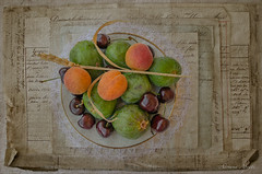 ... estate (adrianaaprati) Tags: summer june estate sommer verano été cherries cerises kirschen cerezas figs apricots texture evelynflint cup oldnotes stilllife ear corn